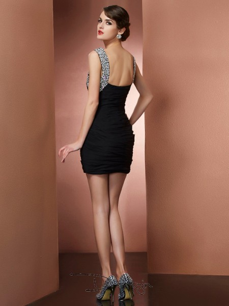 Sheath/Column Sleeveless Beading Short/Mini Chiffon Straps Dresses