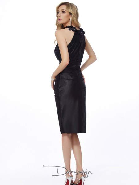 Sheath/Column Sleeveless Applique Knee-Length Elastic Woven Satin Bateau Dresses