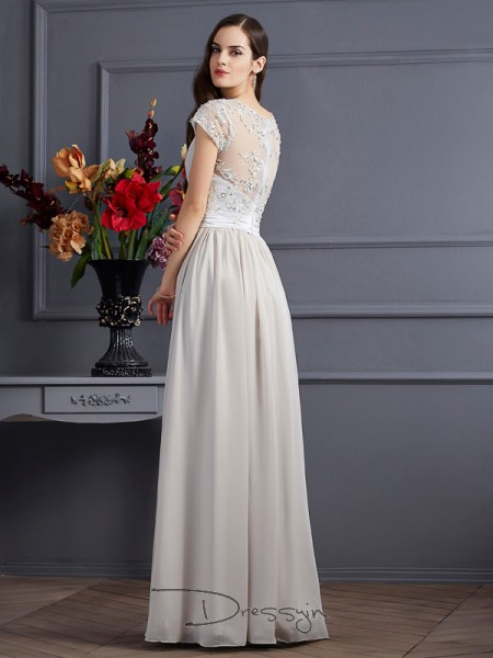 A-Line/Princess Short Sleeves Beading Applique Floor-Length Chiffon Sweetheart Dresses