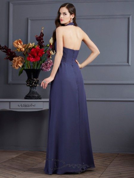 A-Line/Princess Sleeveless Pleats Floor-Length Chiffon Halter Dresses