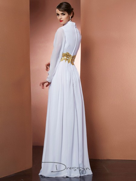 A-Line/Princess Long Sleeves Floor-Length Chiffon V-neck Dresses