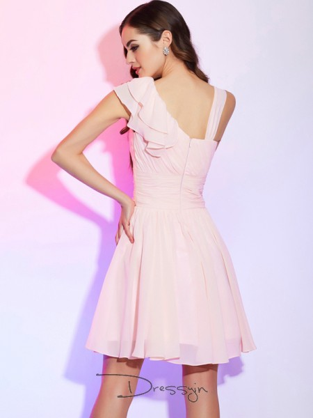 A-Line/Princess Sleeveless Pleats Short/Mini Chiffon Dresses