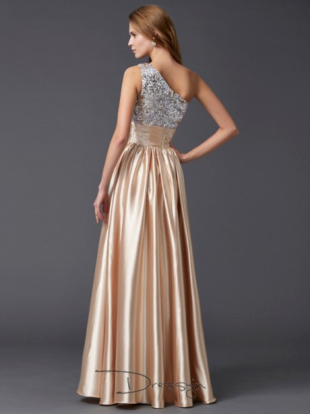 A-Line/Princess Sleeveless Paillette Floor-Length Elastic Woven Satin One-Shoulder Dresses