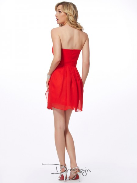 Sheath/Column Sleeveless Ruffles Short/Mini Chiffon Sweetheart Dresses