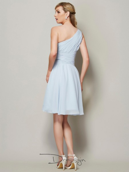 A-Line/Princess Sleeveless Ruched Short/Mini Chiffon One-Shoulder Bridesmaid Dresses