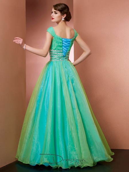 Ball Gown Sleeveless Beading Floor-Length Satin Off-the-Shoulder Dresses