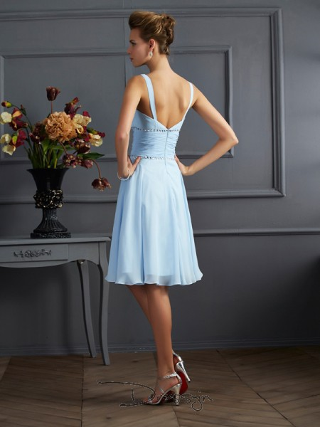A-Line/Princess Sleeveless Pleats Knee-Length Chiffon V-neck Bridesmaid Dresses