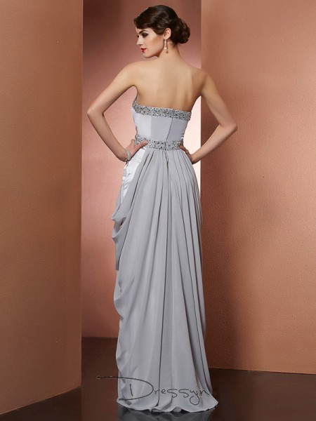 Sheath/Column Sleeveless Beading Floor-Length Chiffon Strapless Dresses