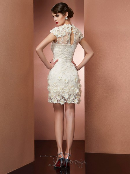 Sheath/Column Short Sleeves Short/Mini Satin Lace High Neck Dresses