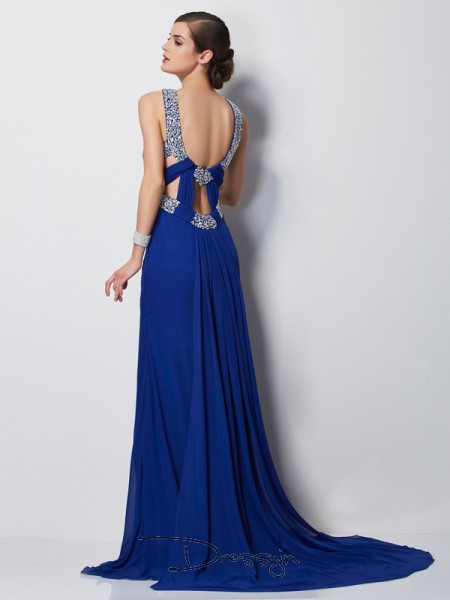 Sheath/Column Sleeveless Beading Sweep/Brush Train Chiffon High Neck Dresses