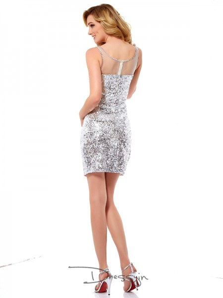 Sheath/Column Sleeveless Lace Paillette Short/Mini Sequins Scoop Dresses