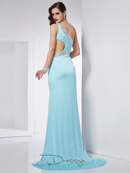 Trumpet/Mermaid Sleeveless Beading Sweep/Brush Train Chiffon One-Shoulder Dresses