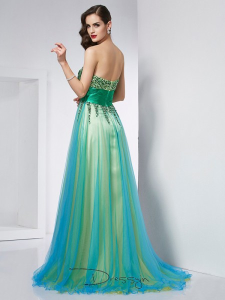 Ball Gown Sleeveless Ruffles Sweep/Brush Train Elastic Woven Satin Net Sweetheart Dresses