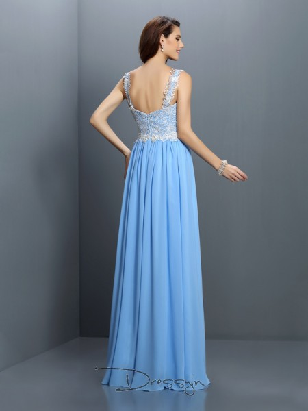A-Line/Princess Sleeveless Chiffon Lace V-neck Straps Floor-Length Bridesmaid Dresses