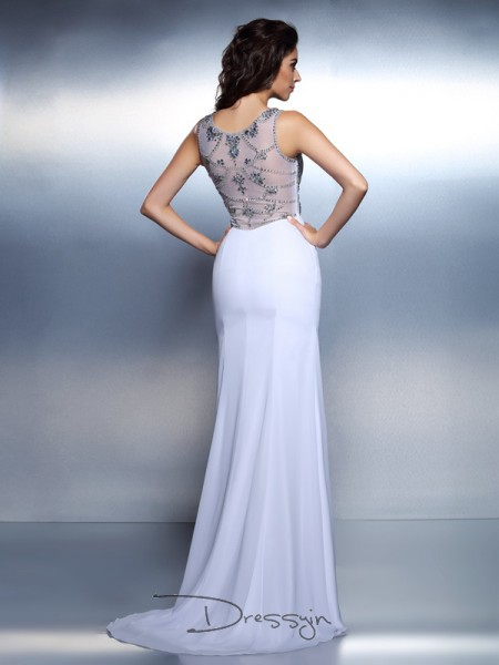 Trumpet/Mermaid Sleeveless Chiffon Beading Bateau Floor-Length Dresses