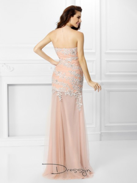 Trumpet/Mermaid Sleeveless Chiffon Applique Lace Sweetheart Floor-Length Dresses