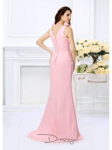 Trumpet/Mermaid Sleeveless Chiffon V-neck Sweep/Brush Train Bridesmaid Dresses