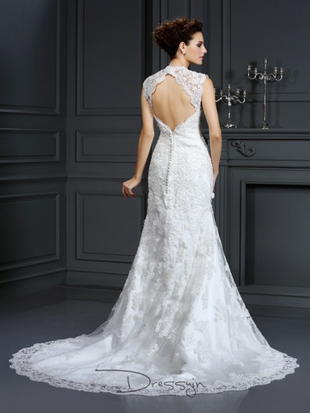 Sheath/Column Sleeveless Lace Beading V-neck Sweep/Brush Train Wedding Dresses