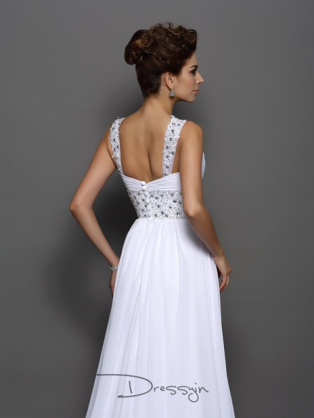 A-Line/Princess Sleeveless Chiffon Beading Straps Court Train Wedding Dresses