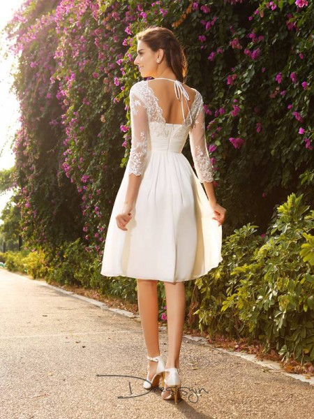 A-Line/Princess 3/4 Sleeves Chiffon V-neck Knee-Length Wedding Dresses