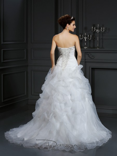 Ball Gown Sleeveless Organza Beading Strapless Court Train Wedding Dresses