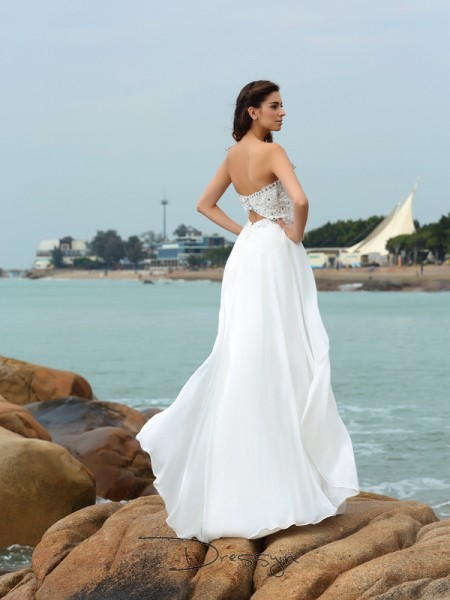 A-Line/Princess Sleeveless Chiffon Beading Sweetheart Floor-Length Wedding Dresses
