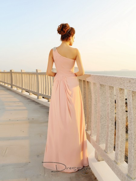 A-Line/Princess Sleeveless Chiffon Beading One-Shoulder Floor-Length Dresses