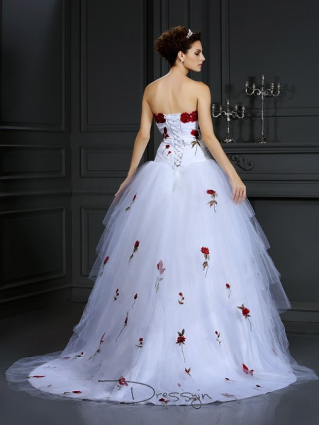 Ball Gown Sleeveless Satin Hand-Made Flower Strapless Court Train Wedding Dresses