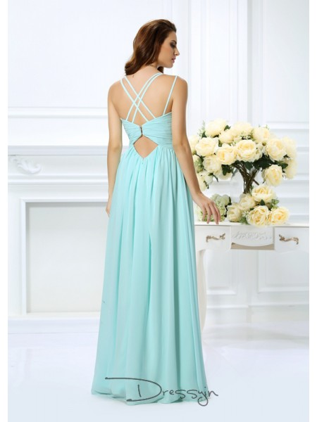 A-Line/Princess Sleeveless Chiffon Pleats Spaghetti Straps Floor-Length Dresses