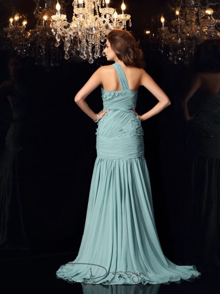 Trumpet/Mermaid Sleeveless Chiffon One-Shoulder Sweep/Brush Train Dresses