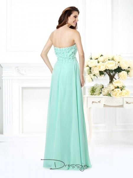 A-Line/Princess Sleeveless Chiffon Sweetheart Floor-Length Dresses