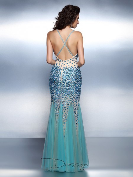Trumpet/Mermaid Sleeveless Satin Rhinestone Spaghetti Straps Floor-Length Dresses