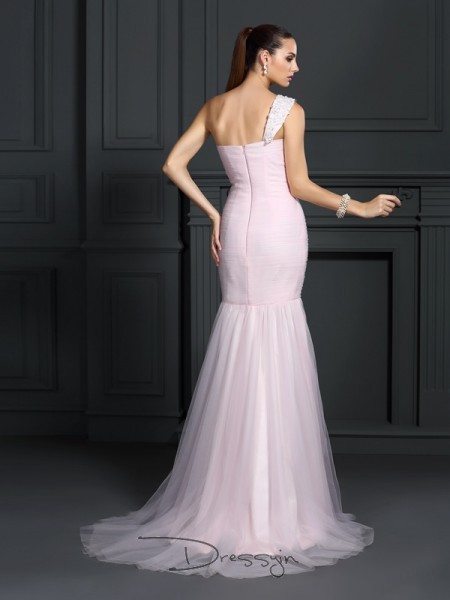 Trumpet/Mermaid Sleeveless Satin One-Shoulder Sweep/Brush Train Dresses