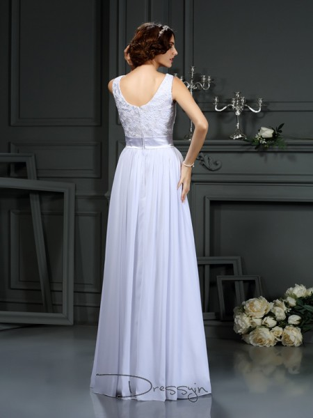 A-Line/Princess Sleeveless Chiffon Lace Scoop Floor-Length Wedding Dresses
