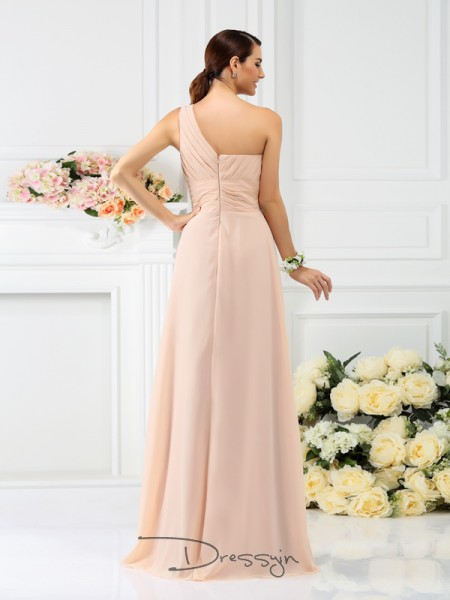 A-Line/Princess Sleeveless Chiffon Pleats One-Shoulder Floor-Length Bridesmaid Dresses