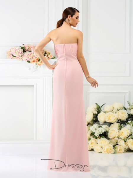 Sheath/Column Sleeveless Chiffon Hand-Made Flower Strapless Floor-Length Bridesmaid Dresses
