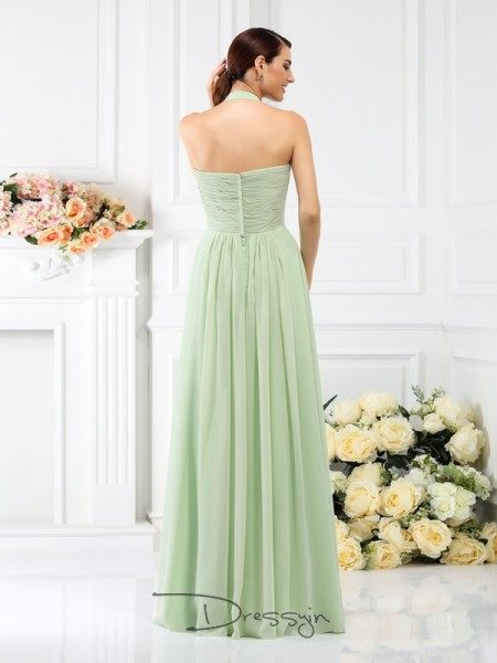 A-Line/Princess Sleeveless Chiffon Pleats Halter Floor-Length Bridesmaid Dresses