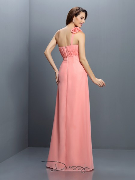 A-Line/Princess Sleeveless Chiffon Hand-Made Flower Strapless Floor-Length Bridesmaid Dresses