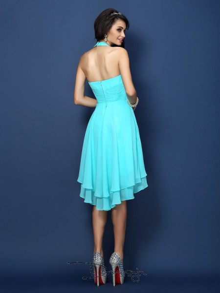 A-Line/Princess Sleeveless Chiffon Pleats Halter Short/Mini Bridesmaid Dresses