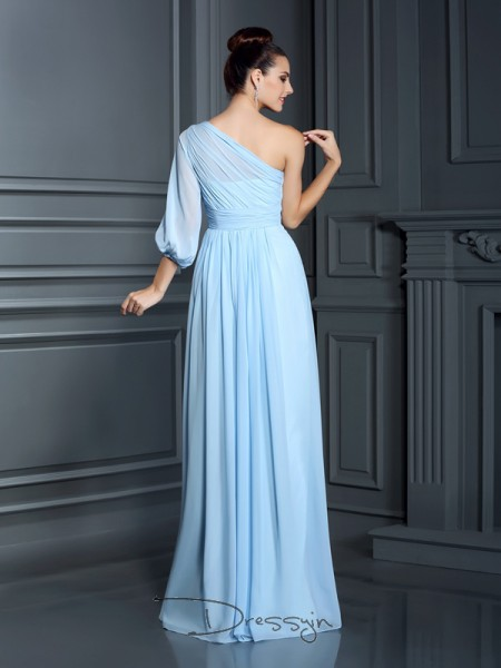Sheath/Column 3/4 Sleeves Chiffon One-Shoulder Floor-Length Bridesmaid Dresses