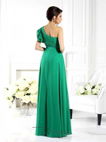 A-Line/Princess Sleeveless Chiffon Ruffles One-Shoulder Floor-Length Bridesmaid Dresses