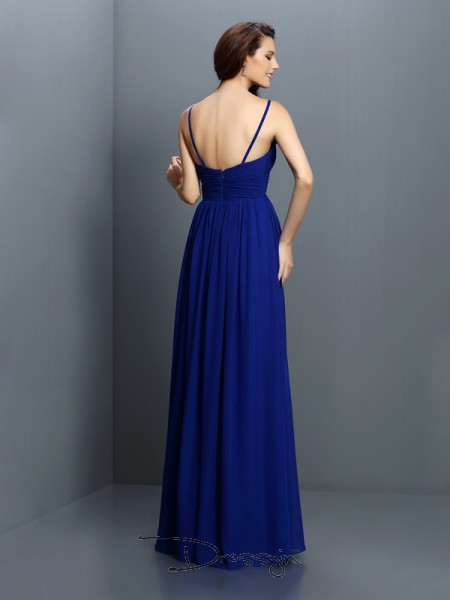 A-Line/Princess Sleeveless Chiffon Pleats V-neck Floor-Length Bridesmaid Dresses