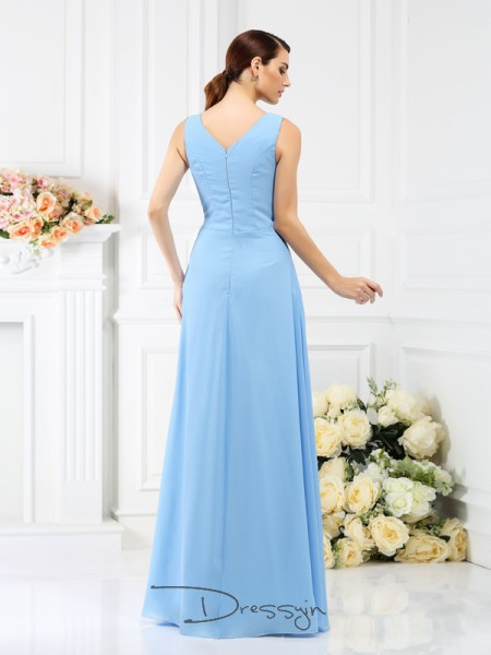 Sheath/Column Sleeveless Chiffon Beading V-neck Floor-Length Bridesmaid Dresses