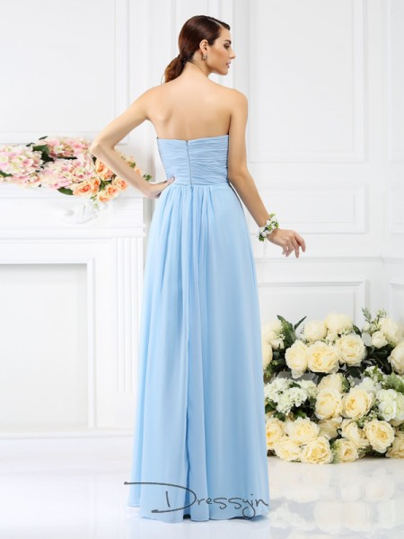 A-Line/Princess Sleeveless Chiffon Pleats Strapless Floor-Length Bridesmaid Dresses
