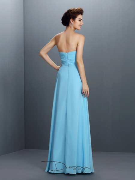 A-Line/Princess Sleeveless Chiffon Beading Sweetheart Floor-Length Dresses