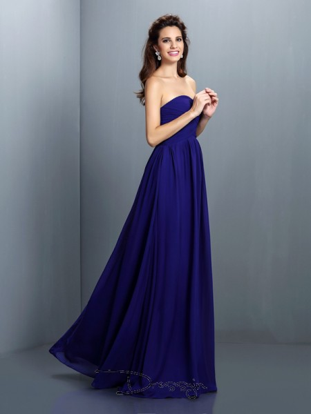 A-Line/Princess Sleeveless Chiffon Pleats Sweetheart Floor-Length Bridesmaid Dresses