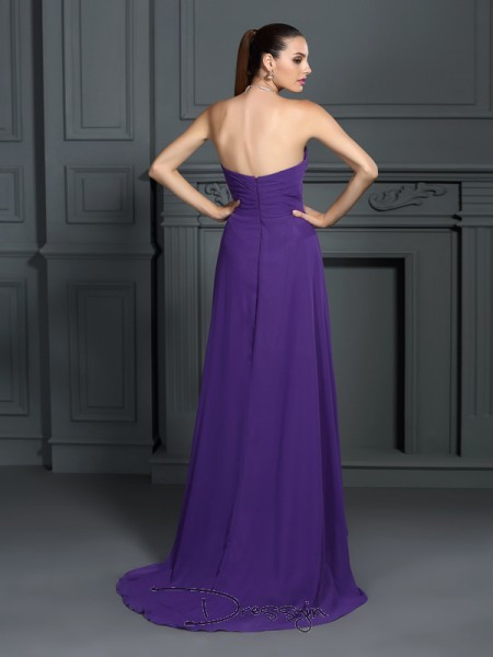 A-Line/Princess Sleeveless Chiffon Pleats Strapless Asymmetrical Dresses
