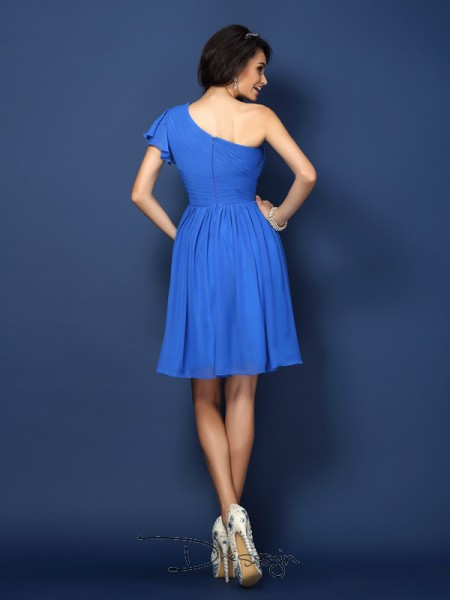 A-Line/Princess Sleeveless Chiffon Pleats One-Shoulder Short/Mini Bridesmaid Dresses