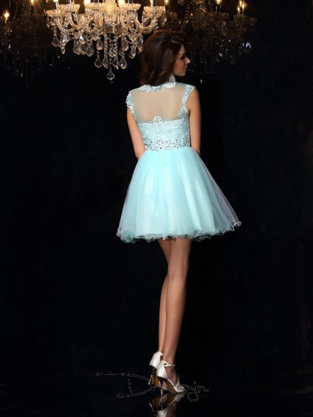 A-Line/Princess Sleeveless Elastic Woven Satin High Neck Short/Mini Dresses