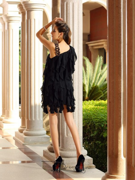 A-Line/Princess Sleeveless Chiffon Ruffles Short/Mini Dresses